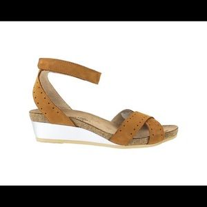 Naot Wand Leather Ankle Strap Demi-Wedges Sandals